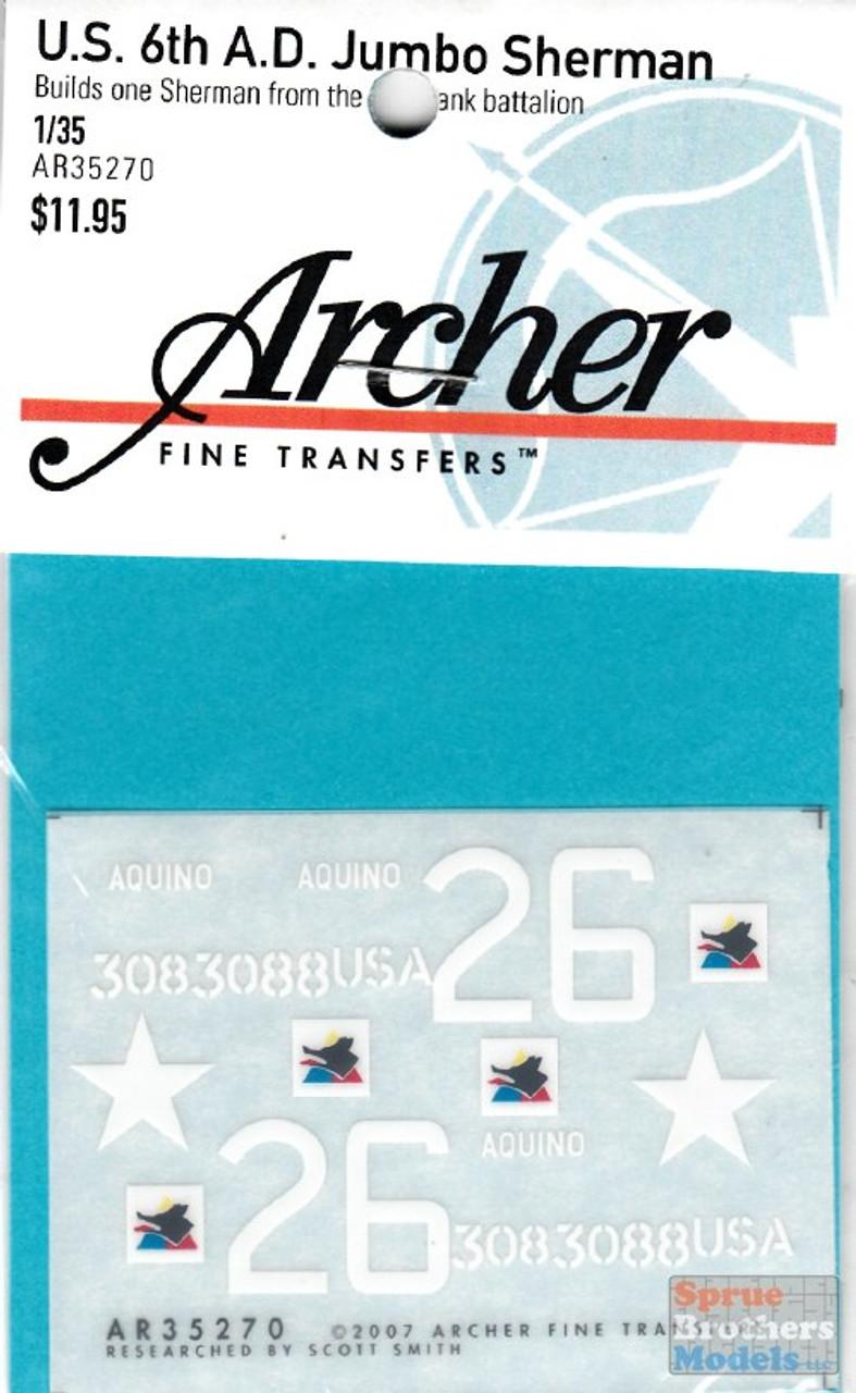 ART35270 1:35 Archer Transfers US 6th A.D. Jumbo Sherman