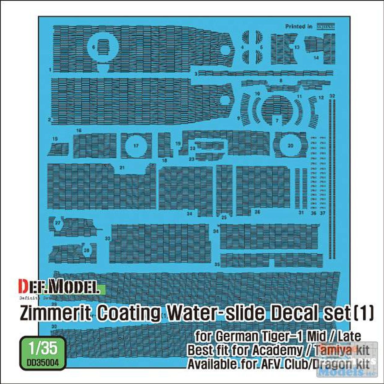 DEFDD35004 1:35 DEF Decal - Zimmerit Coating for Tiger I Mid/Late (ACA/TAM kit