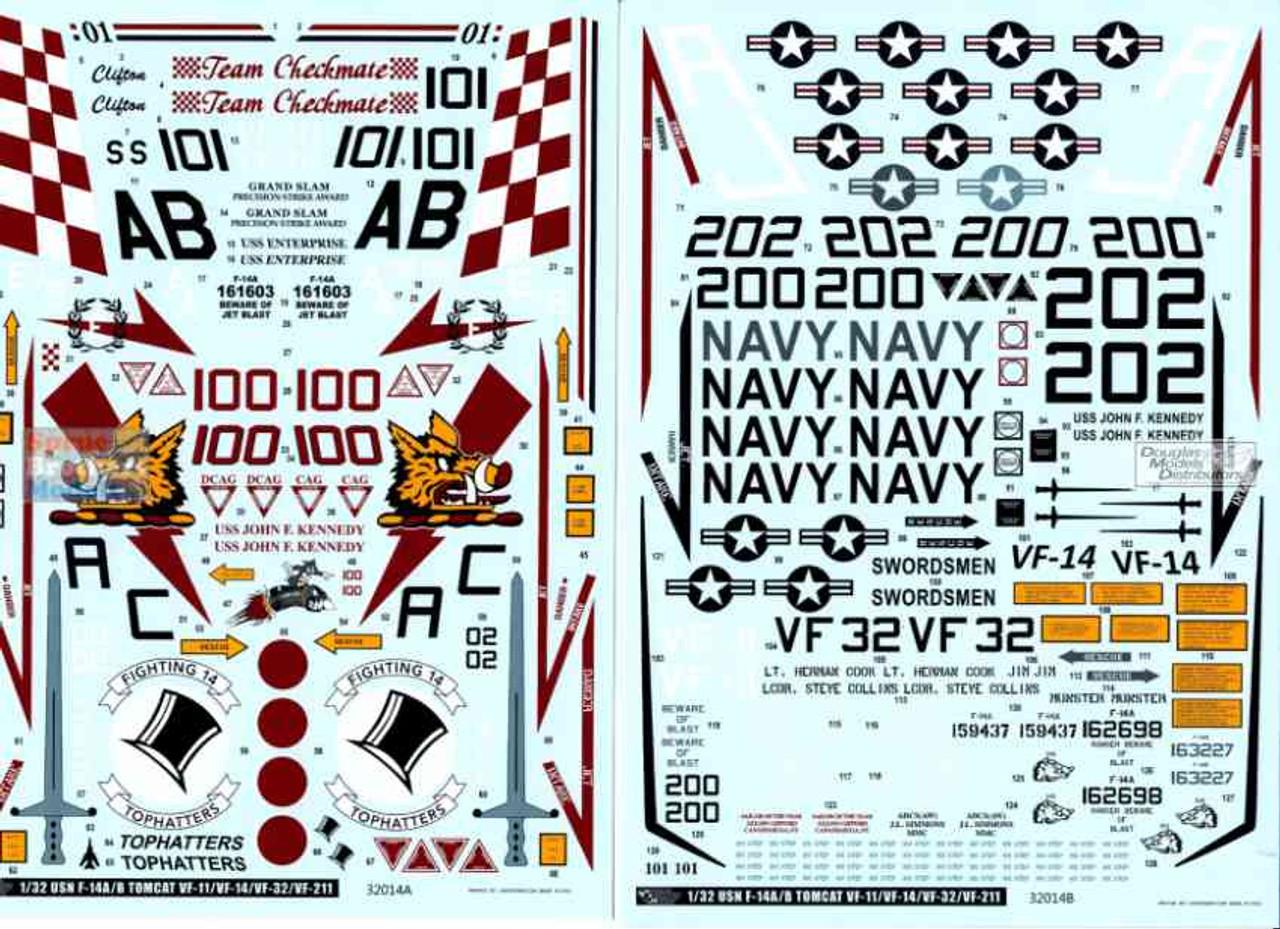 DXM01-3312 1:32 DXM Decals F-14A F-14B Tomcat Vf-11 Red Rippers VF-14 Tophatters VF-32 Swordsmen VF-211 Checkmates