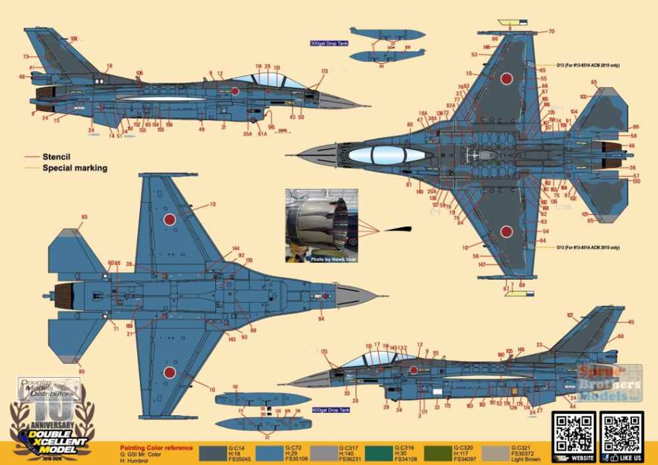 DXM01-4242 1:48 DXM Decals Mitsubishi F-2A Viper Zero JASDF 6SQ Special Painting Schemes