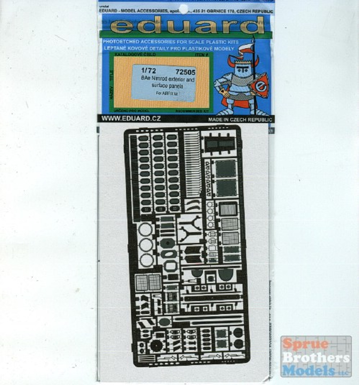 EDU72505 1:72 Eduard PE - BAe Nimrod Exterior and Surface Panels Detail Set (AFX kit) #72505