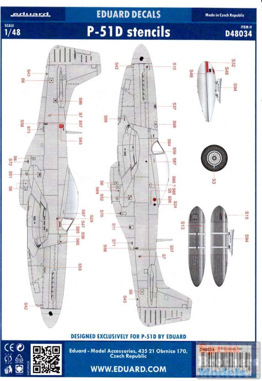 EDUD48034 1:48 Eduard Decals - P-51D Mustang Stencils