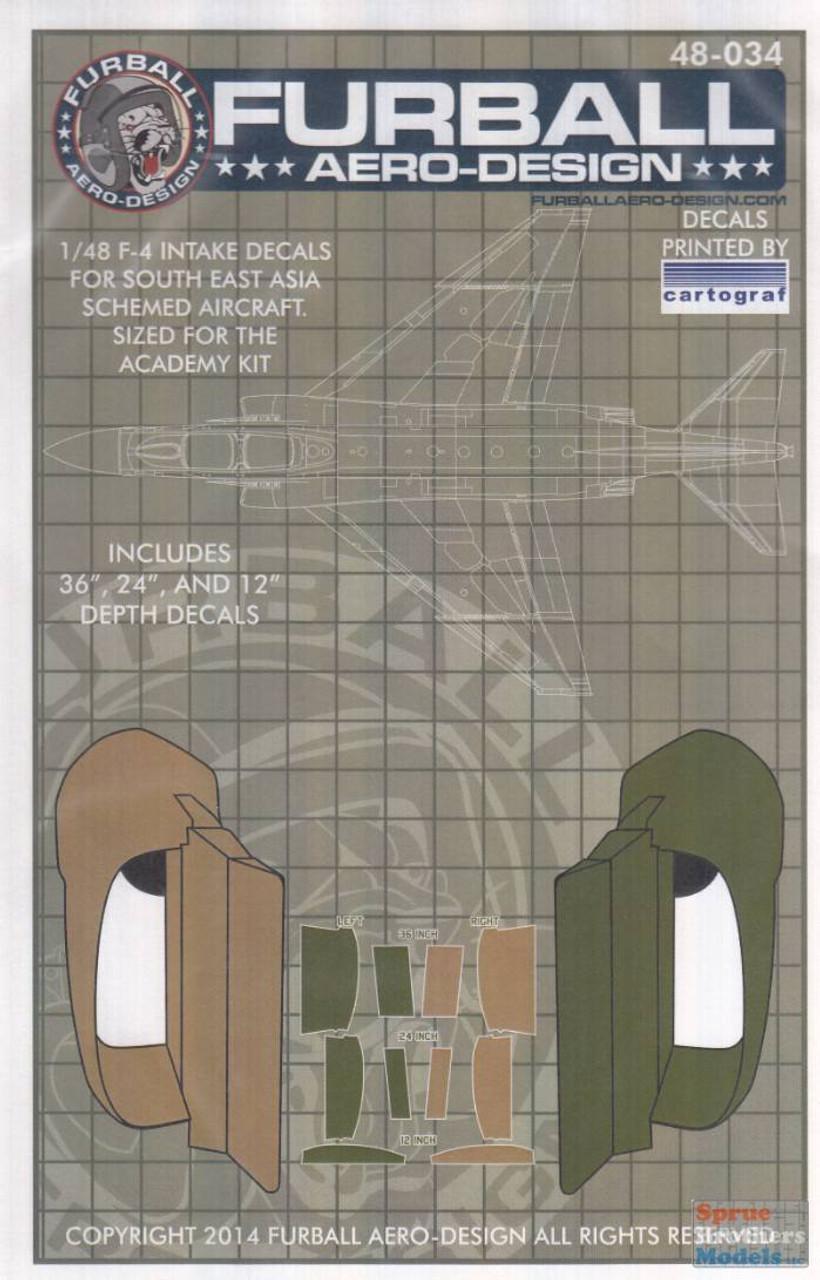 FUR48034 1:48 Furball Aero Design F-4 Phantom II Intake Decals - SE Asia Schemed Aircraft