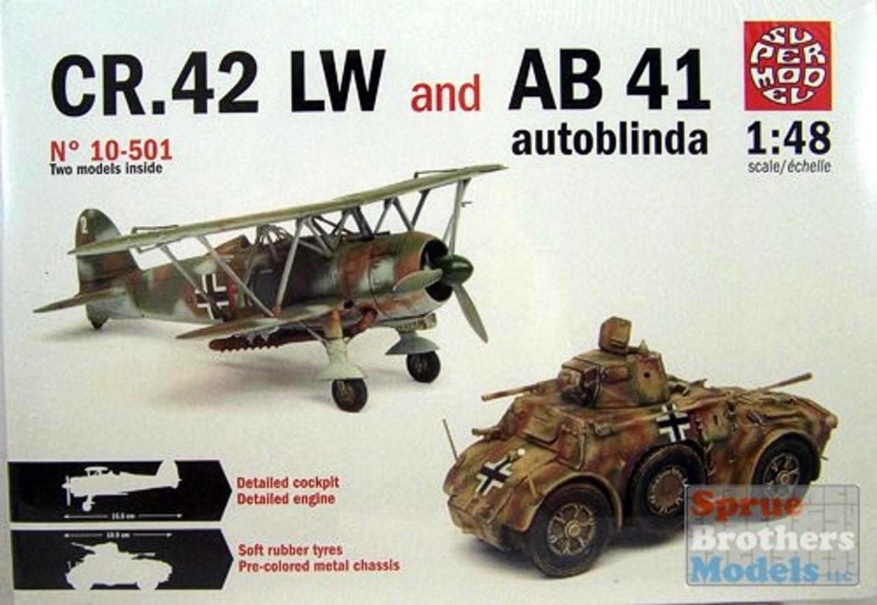ITA10501 1:48 Italeri/SuperModel CR.42 LW and AB 41 Autoblinda Combo Kit (contains 2 models)
