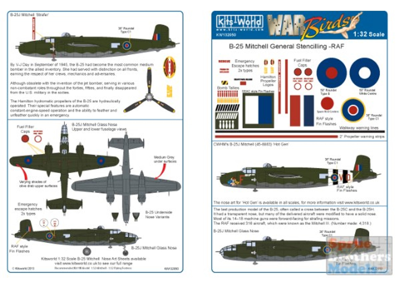 KSW132050 1:32 Kits-World Decals - RAF B-25 Mitchell General Stenciling