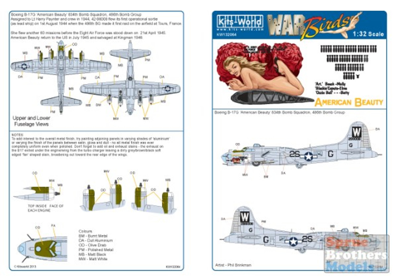 KSW132064 1:32 Kits-World Decals B-17G Flying Fortress American Beauty