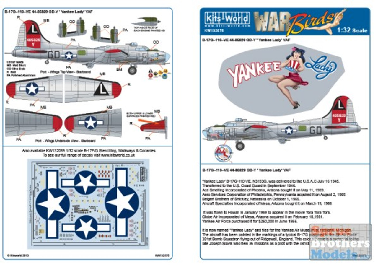 KSW132075 1:32 Kits-World Decals B-17G Flying Fortress Yankee Lady