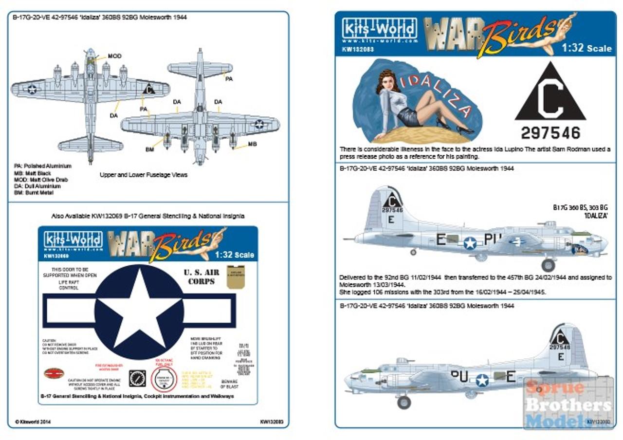 "KSW132083 1:32 Kits-World Decals - B-17G Flying Fortress 'Idaliza"" 360BS 92BG Molesworth 1944"