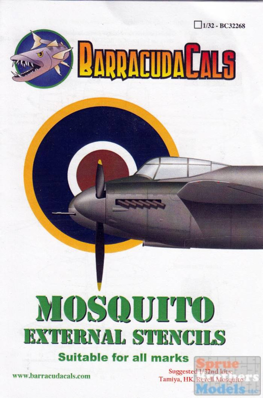 BARBC32268 1:32 BarracudaCals Mosquito External Stencils (for all marks)