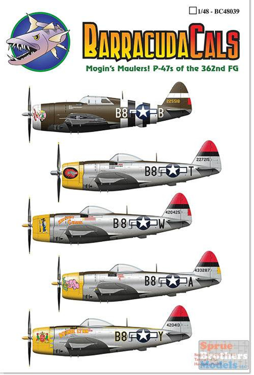 BARBC48039 1:48 BarracudaCals P-47 Thunderbolt 362FG Mogin's Maulers