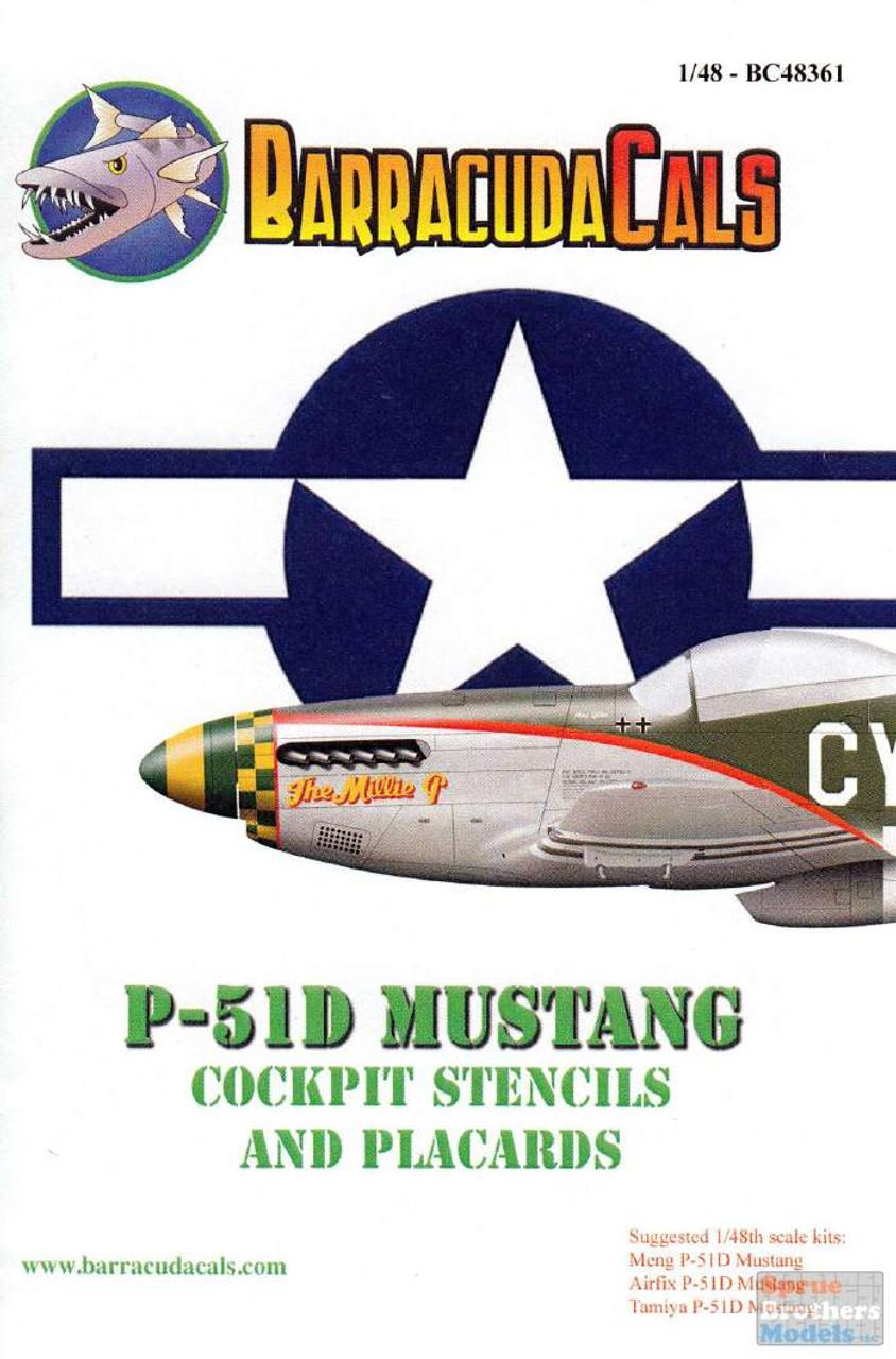 BARBC48361 1:48 BarracudaCals P-51D Mustang Cockpit Stencils & Placards