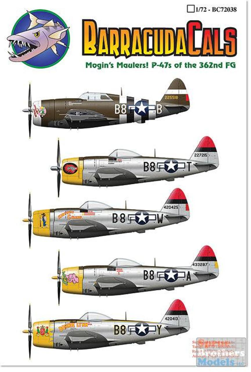 BARBC72038 1:72 BarracudaCals P-47 Thunderbolt 362FG Mogin's Maulers