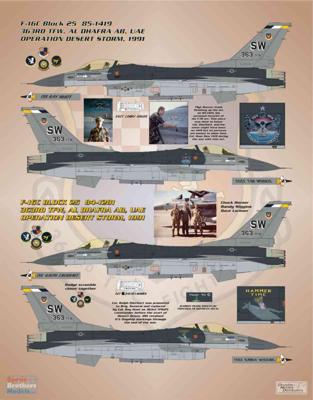 BMA48014 1:48 Bullseye Model Aviation Decals - F-16C F-16A Viper / Falcon 'Desert Storm Vipers II'