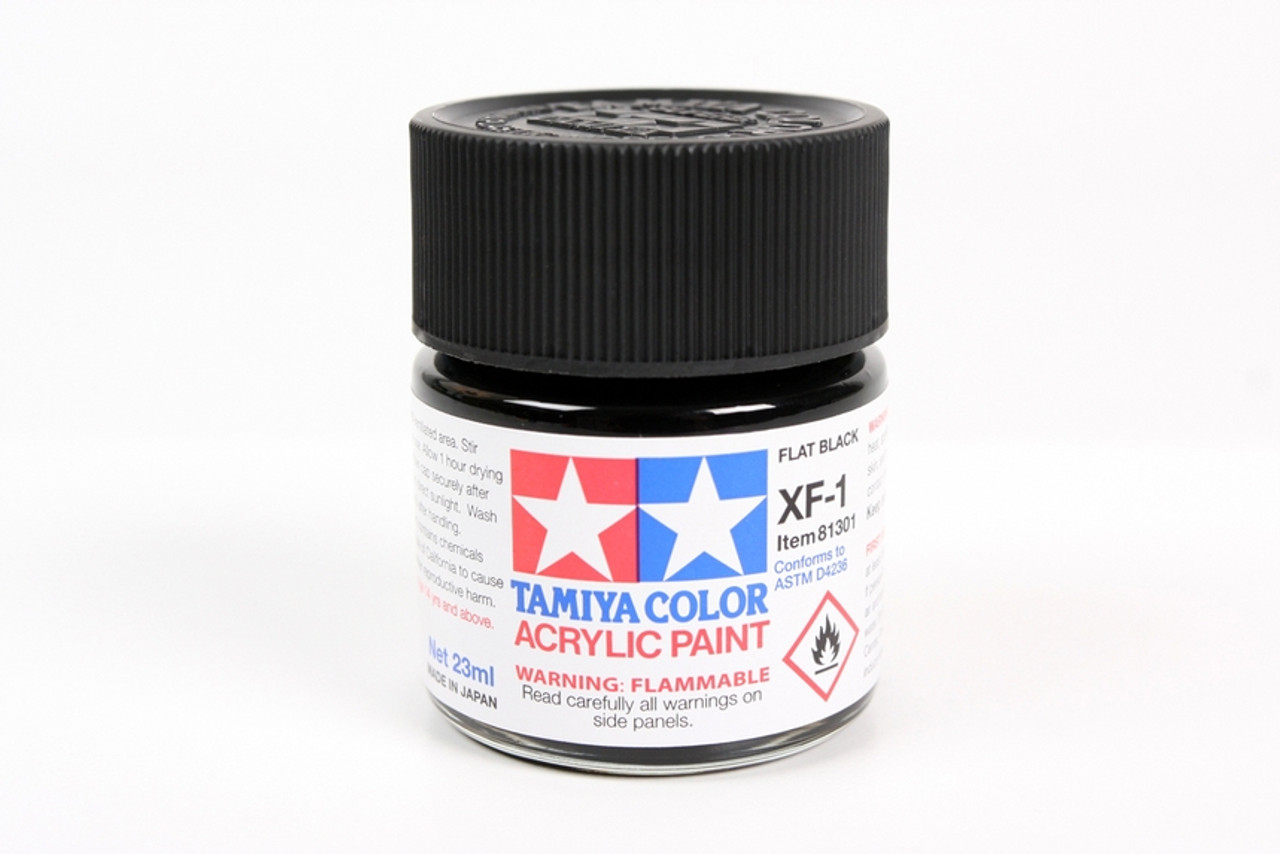 TAM81301 Tamiya Acrylic Paint XF-1 Flat Black 23ml #81301