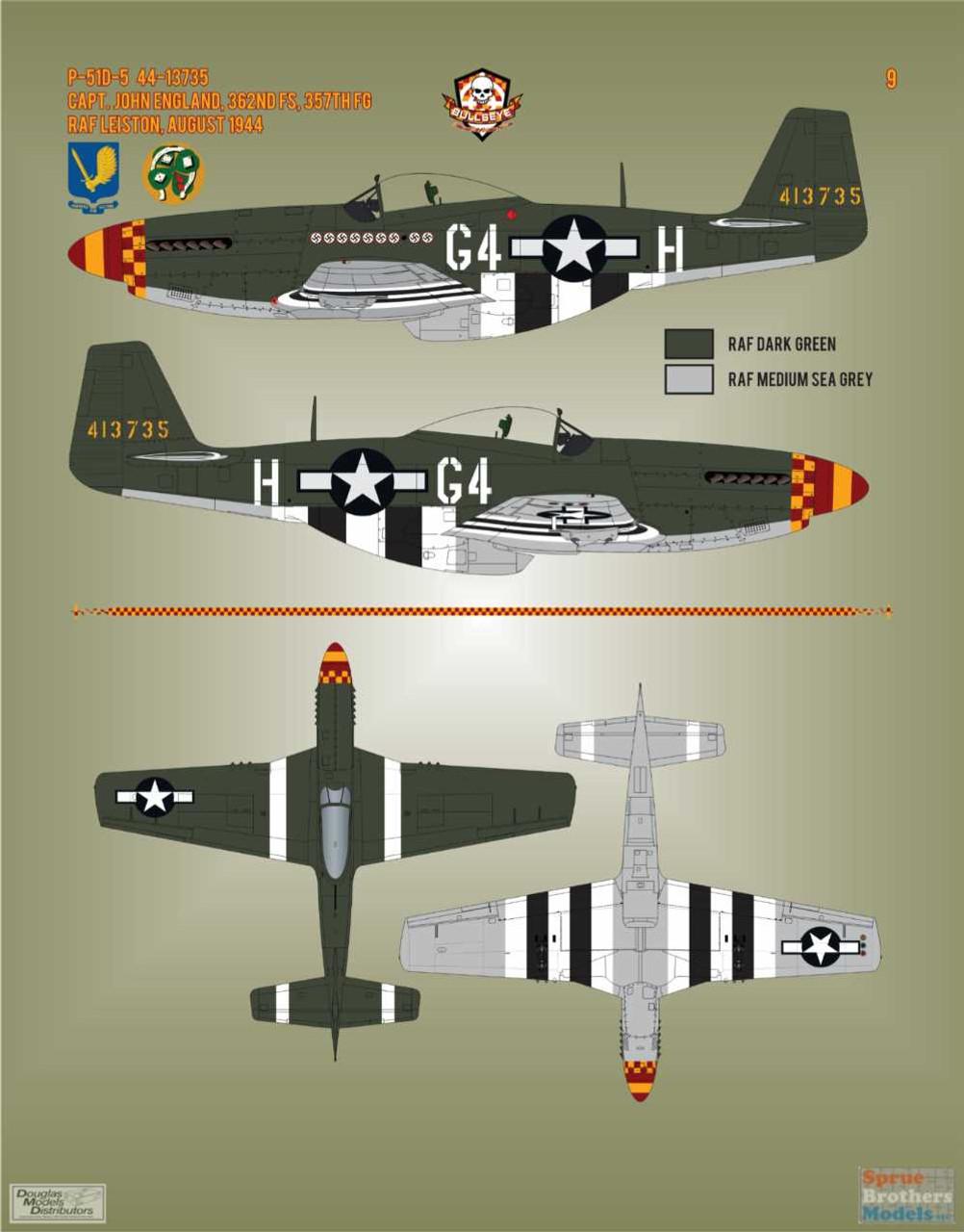 BMA48010 1:48 Bullseye Model Aviation Decals - P-51D Mustang Yoxford Boys #2
