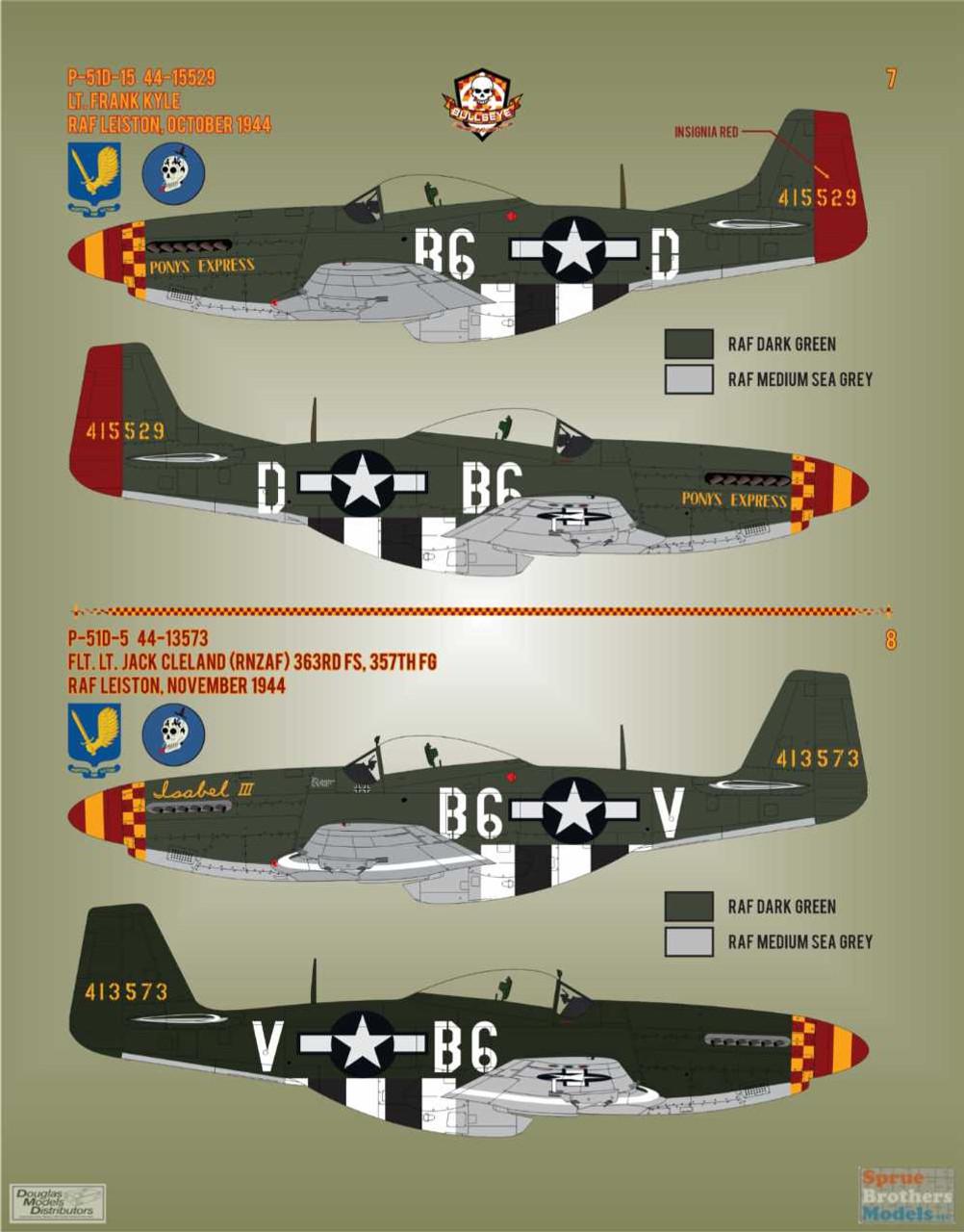 BMA48012 1:48 Bullseye Model Aviation Decals - P-51D Mustang Yoxford Boys #4