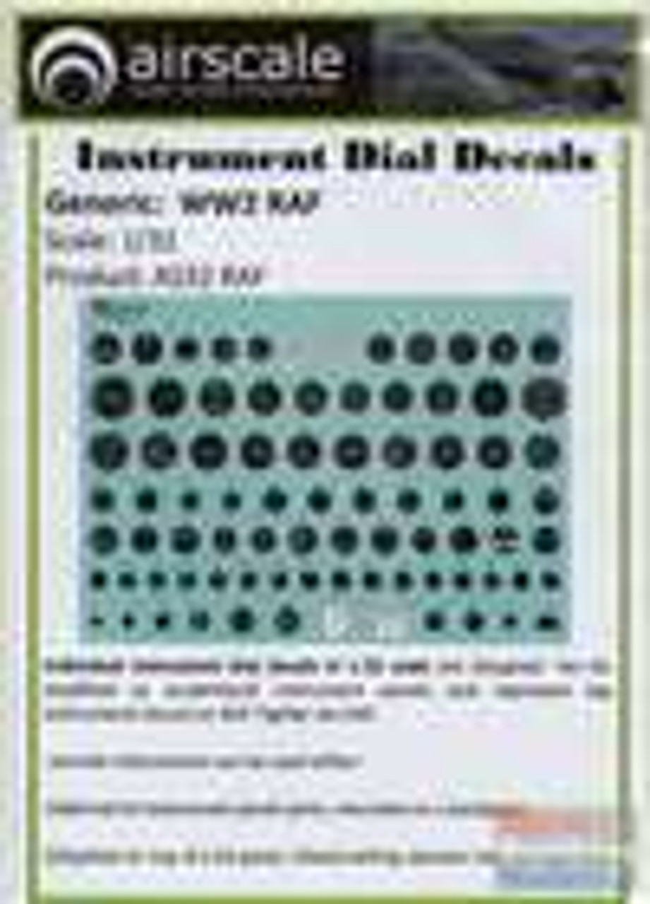 ASCAS32RAF 1:32 Airscale Instrument Dial Decals - WW2 RAF #AS32RAF