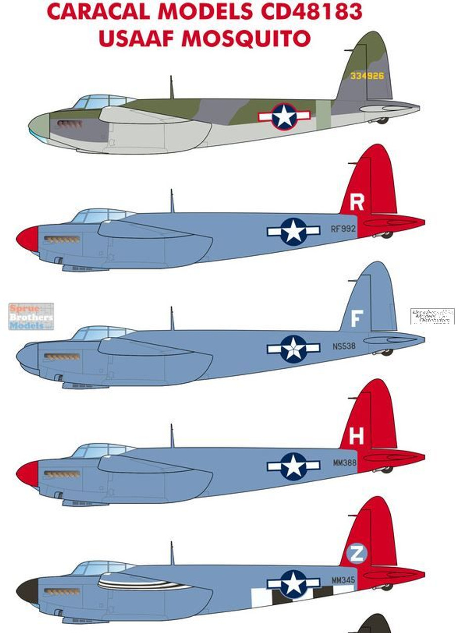 CARCD48183 1:48 Caracal Models Decals - USAAF Mosquito