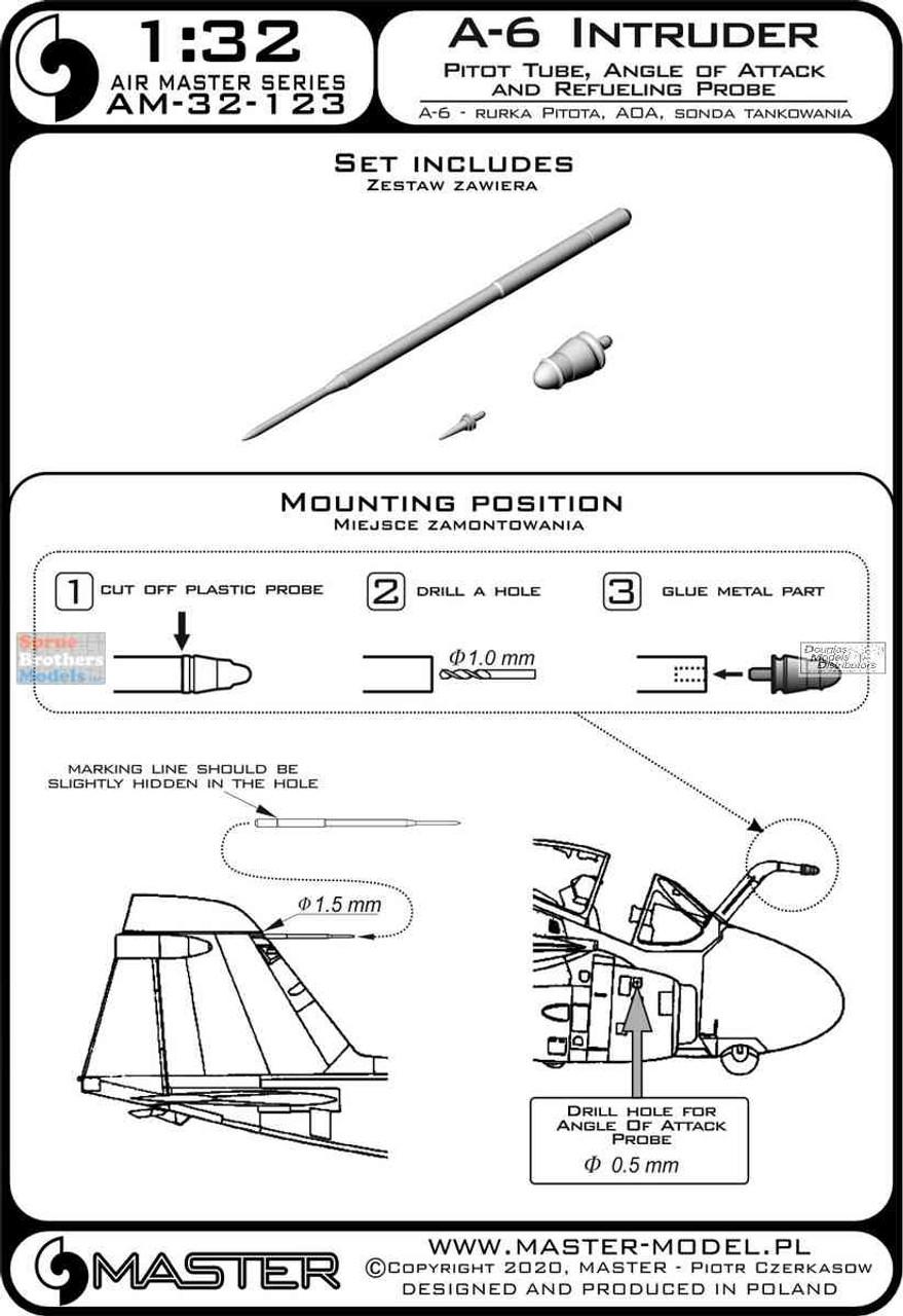 MASAM32123 1:32 Master Model A-6 Intruder Pitot Tube, AOA & Refueling Probe Set