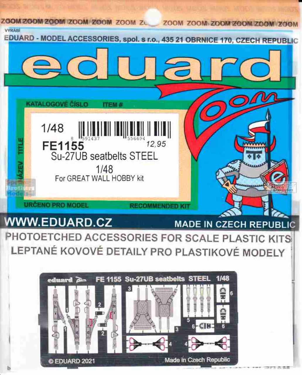 EDUFE1155 1:48 Eduard Color Zoom PE - Su-27UB Flanker Seatbelts [STEEL] (GWH kit)