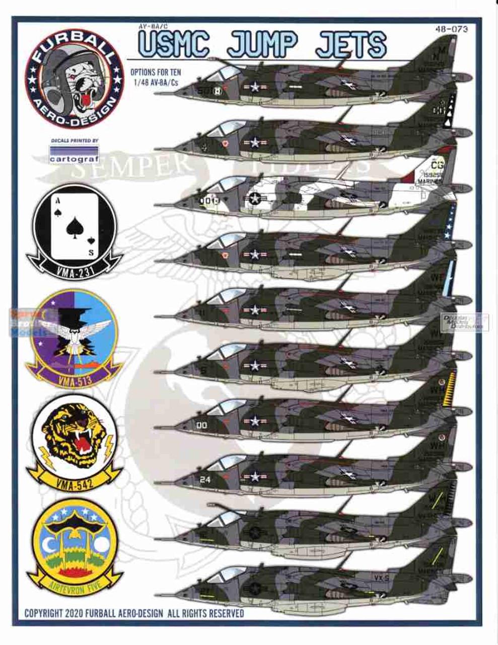 FUR48073 1:48 Furball Aero Design AV-8A AV-8C Harrier 'USMC Jump Jets'