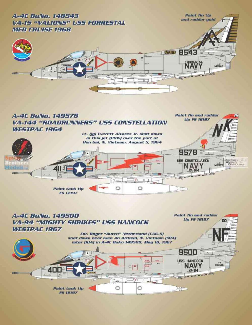 BMA48015 1:48 Bullseye Model Aviation Decals - A-4C Skyhawk 'Fleet Hot Rods'