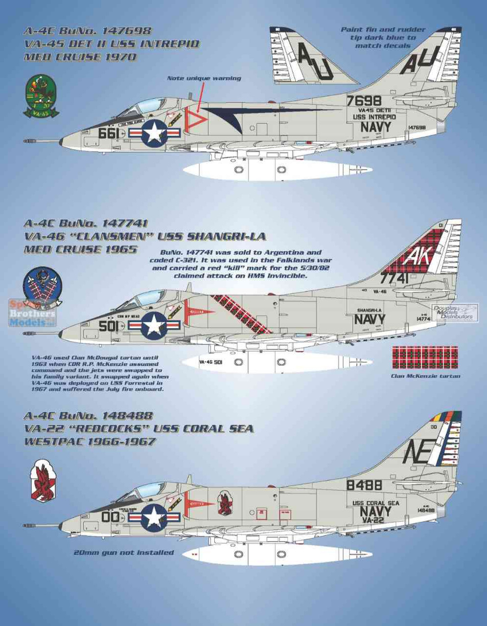 BMA48016 1:48 Bullseye Model Aviation Decals - A-4C Skyhawk 'Fleet Hot Rods II'