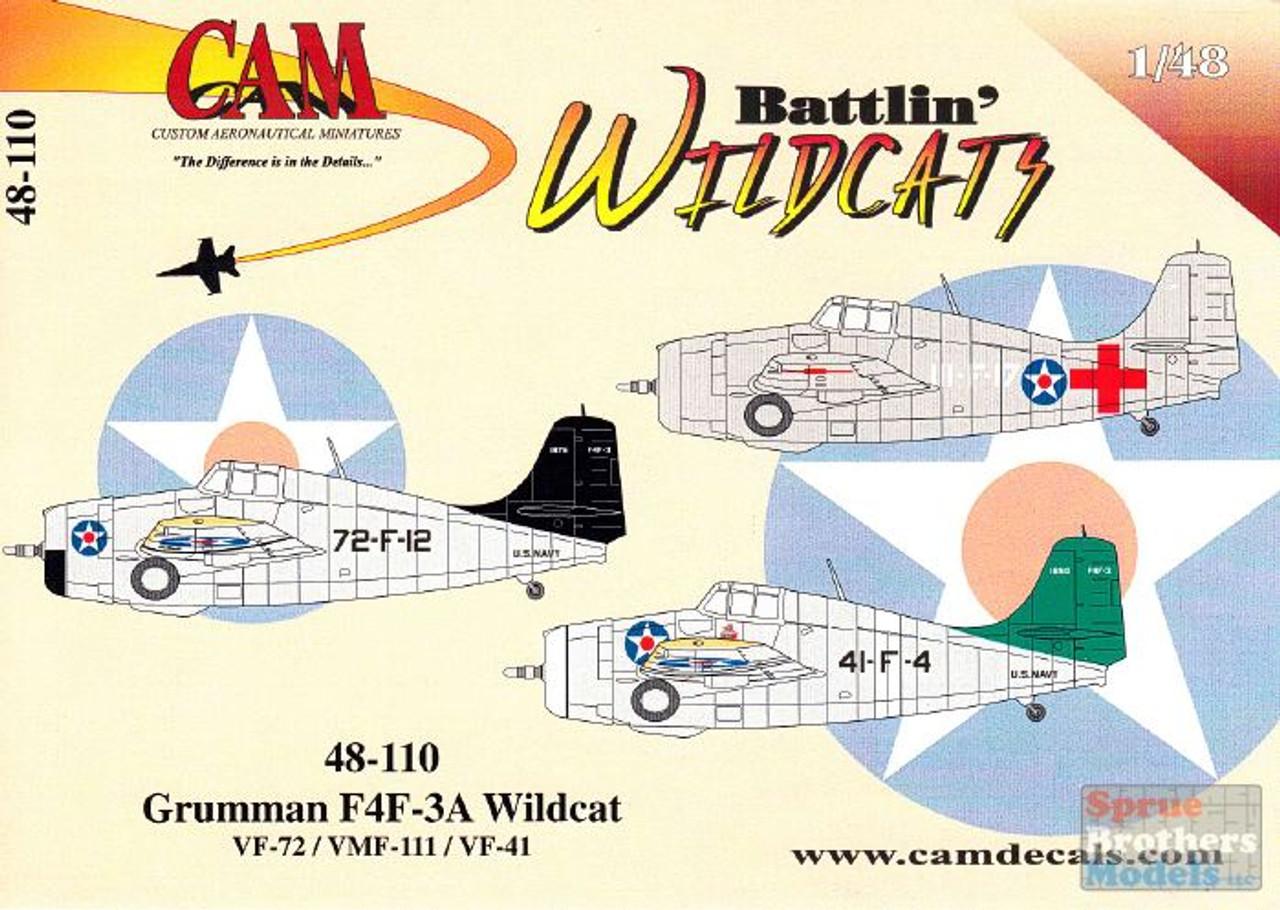 CAM48110 1:48 CAM Decals F4F-3A Wildcat 'Battlin Wildcats' VF-72 VMF-111 VF-41