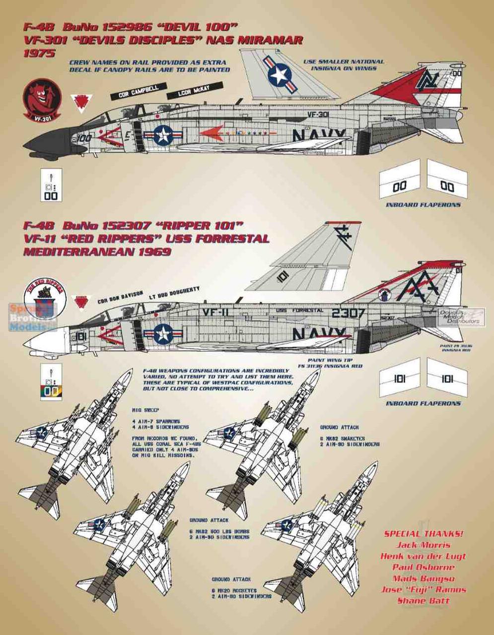 BMA48017 1:48 Bullseye Model Aviation Decals - F-4B Phantom II 'Fleet Phantoms I'