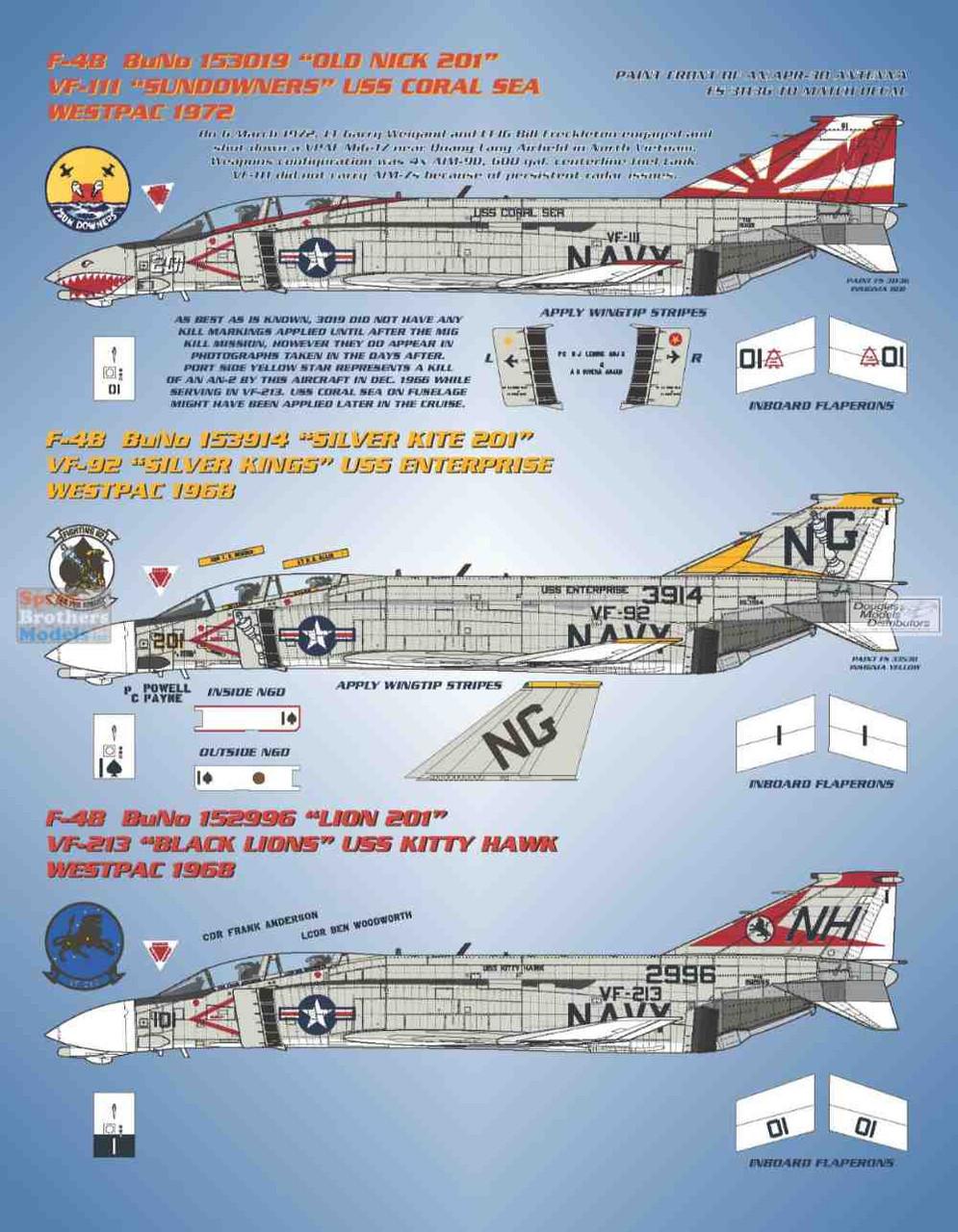 BMA48018 1:48 Bullseye Model Aviation Decals - F-4B Phantom II 'Fleet Phantoms II'