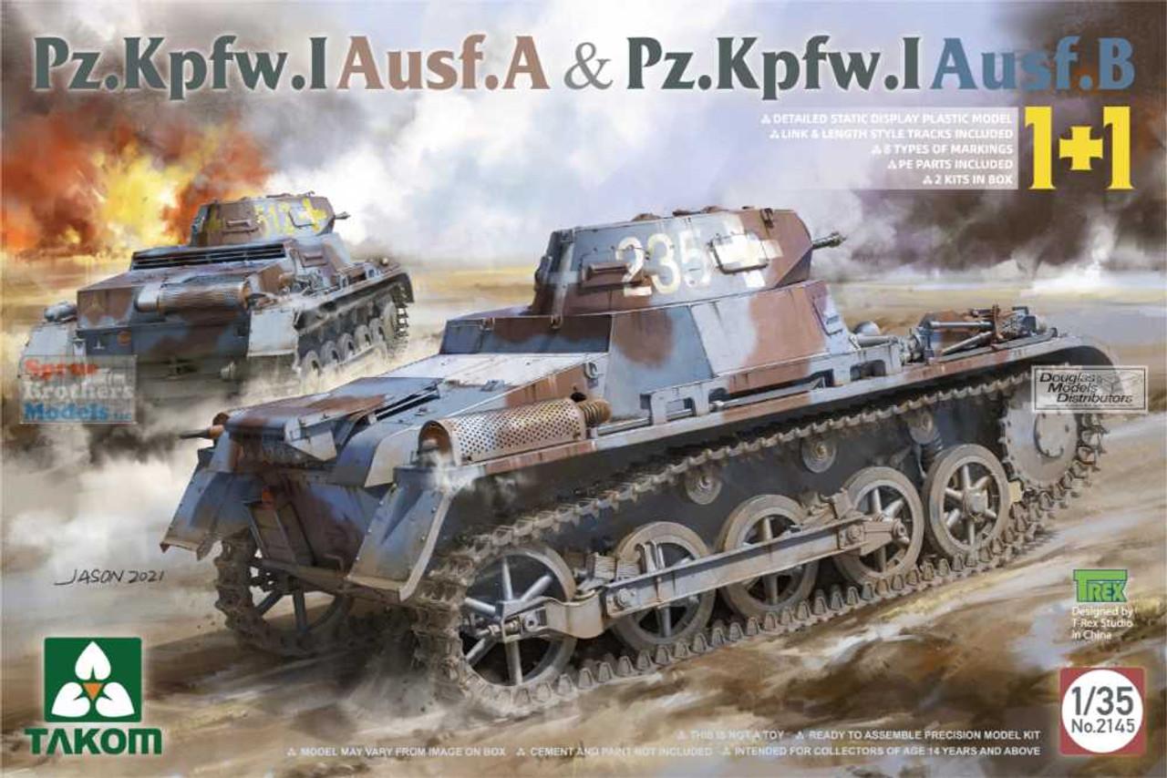 TAK02145 1:35 Takom Panzer Pz.Kpfw.I Ausf.A & Pz.Kpfw.I Ausf.B (1+1 / Contains 2 kits)