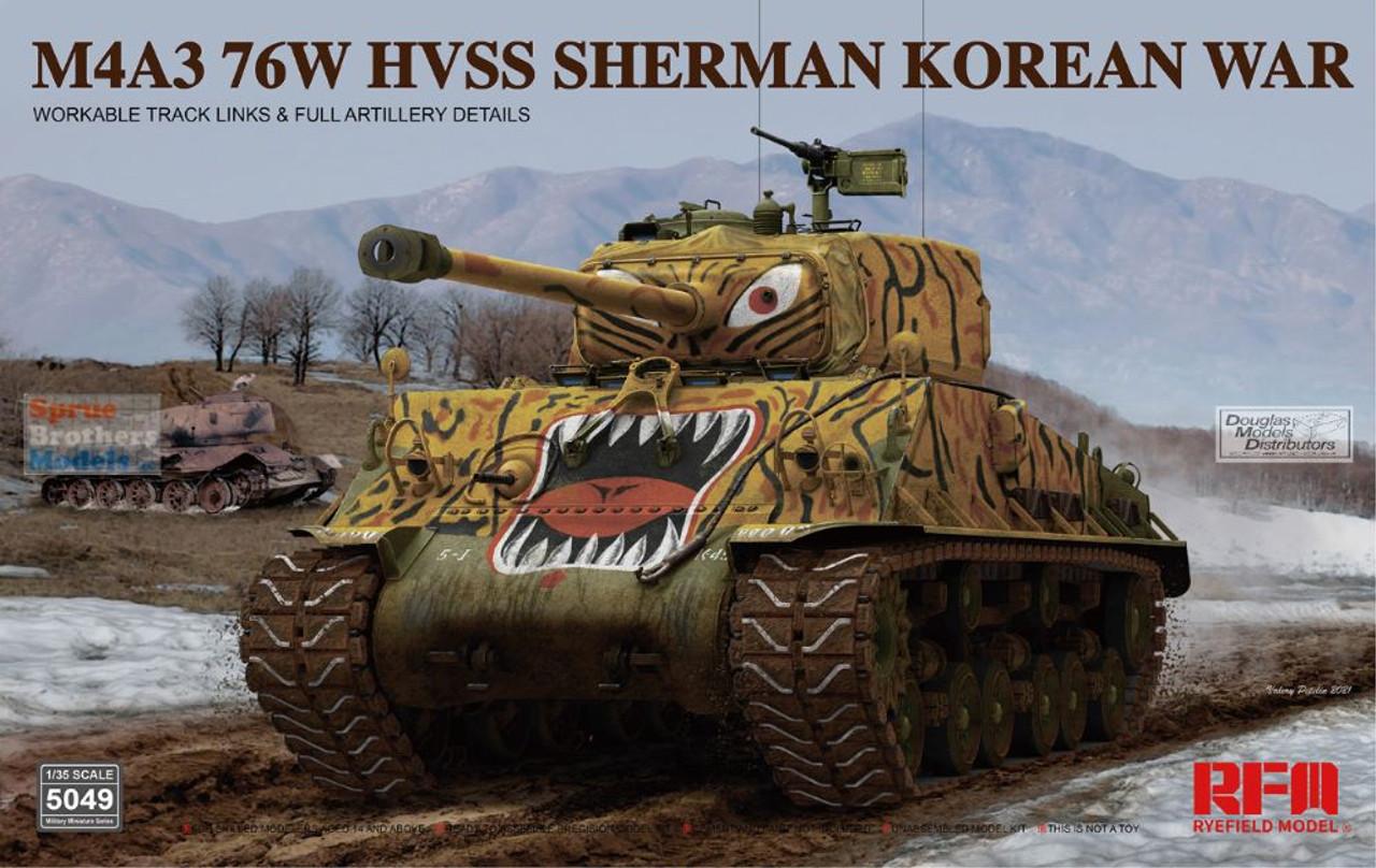 RFMRM5049 1:35 Rye Field Model M4A3(76)W HVSS Sherman Korean War with Workable Track Links