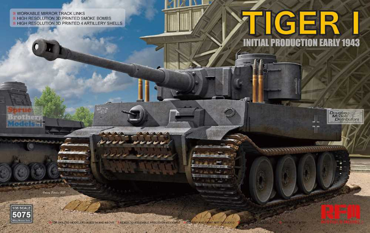 RFMRM5075 1:35 Rye Field Model Tiger I Initial Production Early 1943 with Workable Mirror Track Links
