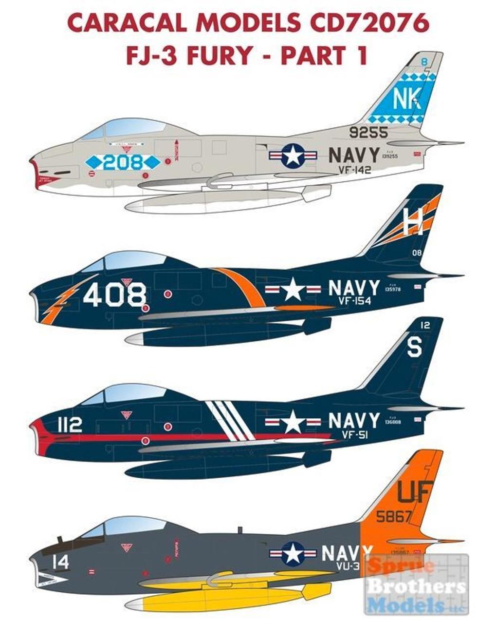 CARCD72076 1:72 Caracal Models Decals - FJ-3 Fury Part 1