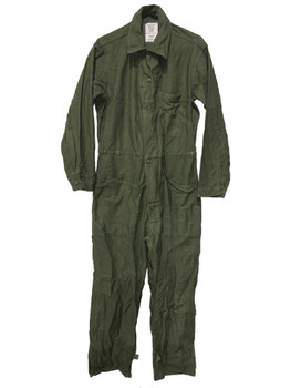 Military Sateen Coveralls Cotton Type 1 OD Green Vintage Distressed