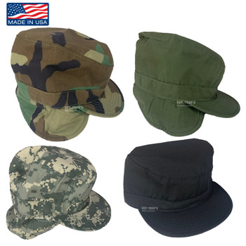 Original Military Cold Weather Combat Patrol Cap with Fleece Earmuff Made in USA