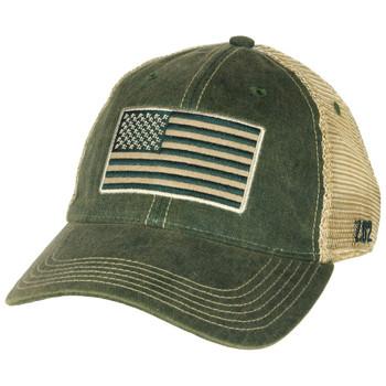 Tactical US Flag Vintage Trucker Hat Olive