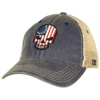 Betsy Ross Flag Skull Vintage Trucker Hat