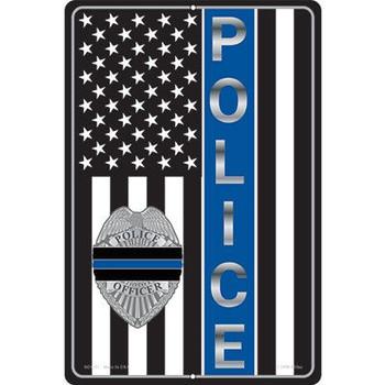 "Police Blue Line Sign 12""X18"""