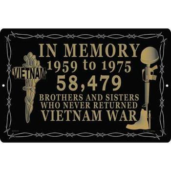 """Vietnam In Memory Sign 12""""x18"""""""