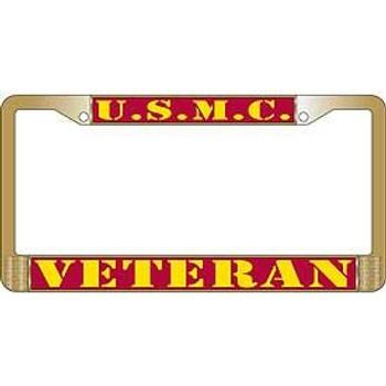 USMC Veteran License Frame (Brass)