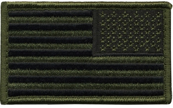 U.S. Flag Patch, Reverse, O.D/Black