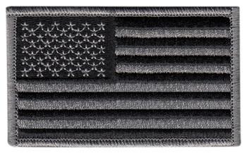 U.S. Flag Patch, Silver/Black