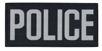 """Police Chest Patch, Reflective, Silver/Midnight, (5-1/2 x 2-5/8"""")"""