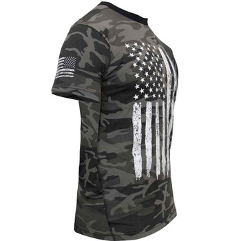 Camo U.S. Flag T-Shirt (Black Camo)