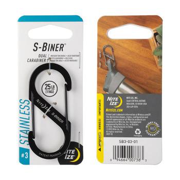 S-Biner Stainless Steel Dual Black Carabiner 25lb