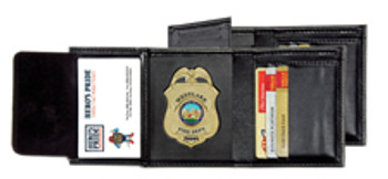 Hero's Pride  Deluxe Leather Badge Wallet for Shield Black