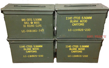 4 PACK Original .50 CALIBER 5.56mm AMMO CAN M2A1 50CAL METAL AMMO CAN BOX VGC GRADE 3