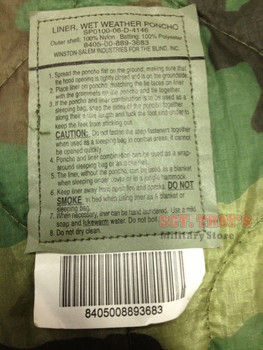 Military Woodland Camo Poncho Liner Woobie Blanket NSN 8405008893683 used