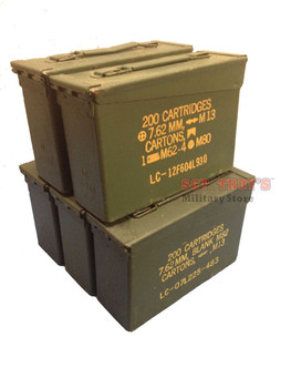 5 (FIVE) USGI METAL M19A1 30 CAL 7.62mm AMMO CANS 30 CALIBER Grade 3